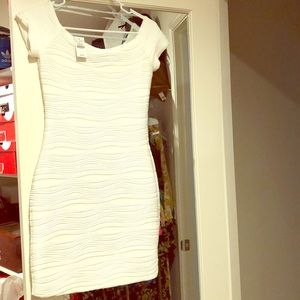 White fitted mid rise dress
